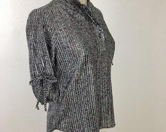 Women's Vintage 1970's Sparkle Metallic Disco Blouse- Medium