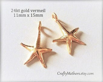 Bali 24kt Vermeil Starfish Charms, 15mm x 11mm, artisan-made jewelry supplies, earrings - CHOOSE a Quantity