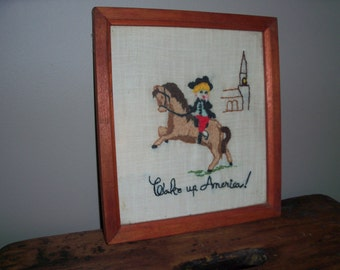 Vintage 1970's Cross Stitch Wall Art Decor Handmade Paul Revere Kid Child America Patriotic British Country