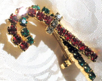 Christmas Rhinestone Vintage Brooch Pin Bling Sparkle Candy Cane Mid Century Modernist Double Layered Prong Set Glitz Holiday Cheer Sparkle