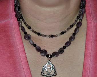 Beautiful Lepidolite Double Strand Necklace