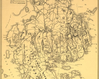 Poster, Many Sizes Available; Map Of Mount Desert Island, Maine 1911