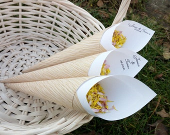 Confetti cones, Custom petal toss cones, Customized gold paper bridal shower favor cone,  Paper bell, Elegant wedding party decor,