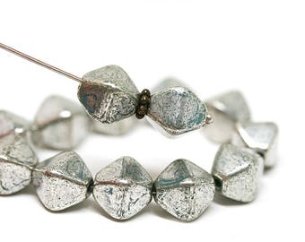 Silver bicone beads Turquoise czech glass beads Heavy Silver wash 10mm bicones Silver glass beads - 15pc - 2256