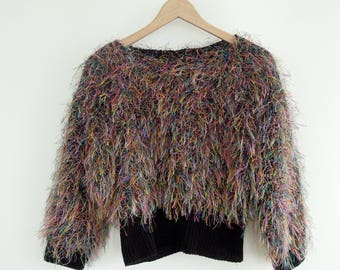 Shaggy Cropped Sweater Size Small Multi Colored Neon Shag Sweater Textured Sweater Confetti Cropped Sweater Vintage Glam Rock Star Sweater