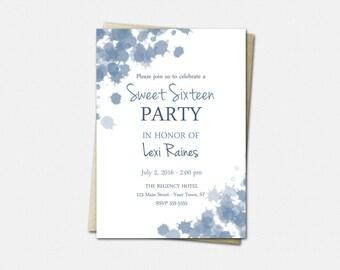 Sweet 16 Birthday Invitations - Birthday Invitations for Girls - Sweet 16 Invitation - Cornflower Ink Blots - Sweet Sixteen Invitations