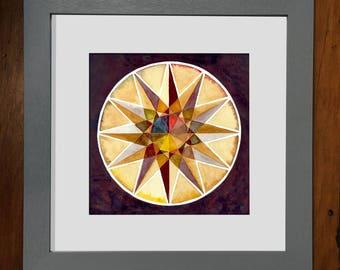 Ochre Quincunx Wheel Print - 8x8