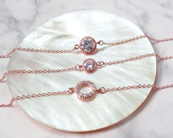 rose gold bracelet wedding, bridesmaids gift , rose gold jewelry, delicate rose gold bracelet, gift bracelet