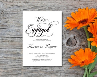 Engagement Party Invitation, Party Invitation, Rustic, Kraft Invitation, Template, DIY EDITABLE PDF, Printable Instant Download E110A