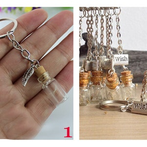 1PC Dandelion Keychain. Make a wish bottle keychain. Dandelion seeds vial wish tibetan silver medal.Glass Jar keychains
