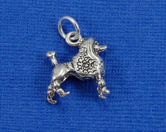 French Poodle Charm - Sterling Silver Poodle Charm for Necklace or Bracelet