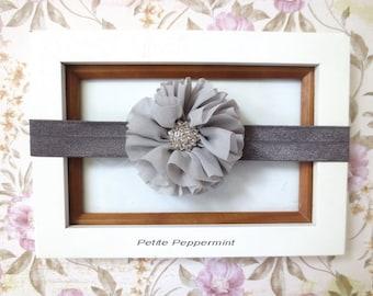 Grey baby headband, newborn headband, gray baby hair bow, infant headband, toddler headband,girl hair bow,girl headband,baby headband flower