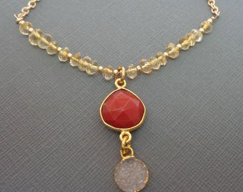 Citrine Red Chalcedony Drop Necklace/Red Chalcedony Heart White Druzy Citrine Gold/Natural Stone/Red Yellow Necklace/Elegant Drop // BE40
