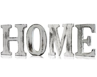 "Shabby Chic letter, ""Home"", white, wood"