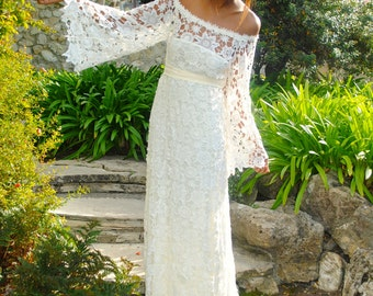 handmade BELL SLEEVE crochet lace bohemian wedding dress / off shoulder / BOHO hippie wedding long lace dress / vintage inspired 70s style