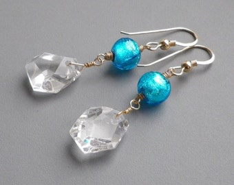 Rock Crystal Blue Murano Gold Earrings