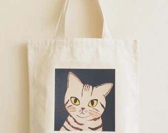 Tote bag, Cat lover gift, Canvas bag, Eco bag, Unique tote, Shoulder bag, Canvas cotton tote, fabric print bag