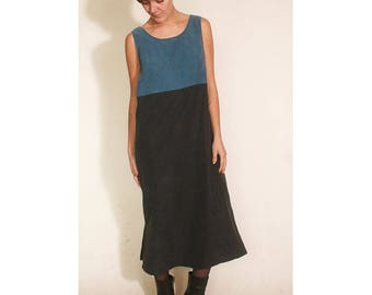 vintage 1990s Black and Blue Two Tone Slitted Shift Dress size L