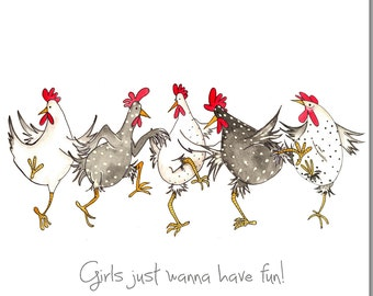 Chicken card etsy chicken card girls just wanna have fun greeting card birthday card for her bookmarktalkfo Choice Image