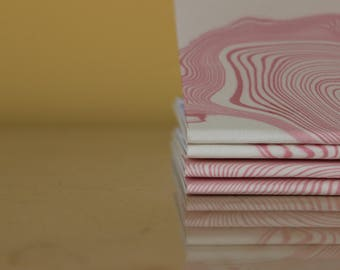 One of a Kind Suminagashi Travel Journal - Notebook, Journal, Sketchbook, Marble, Berry, Violet, Pink