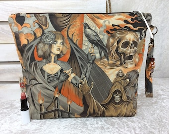 Handmade Giant Zipper Case Zip Pouch fabric Bag Purse Alexander Henry gothic Heart of Darkness Skulls crows