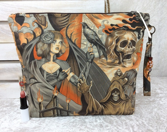 Gothic Skulls Crows Giant Zipper Case Zip Pouch Bag Purse fabric Strap Pencil Makeup Alexander Henry Heart of Darkness