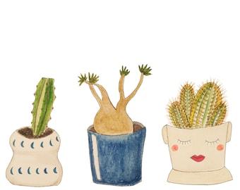 Trois plantes succulentes peinture
