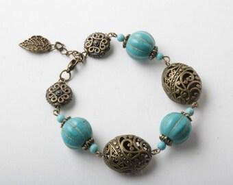 Turquoise bracelet, chunky bracelet, Turquoise jewelry, gypsy jewelry, made in Canada, Boho bracelet, gift for her, brass bracelet