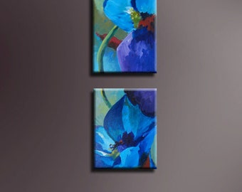 """Original Acrylic abstract Floral  painting- The Blues  - 8"""" x 10"""" each"""