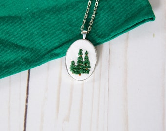 Evergreen Necklace. Gift for Hiker. Pine Tree Pendant.  Tree Necklace. Outdoor Jewelry. Camping Gift. Wilderness Jewelry.