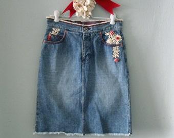 Denim Skirt , Jean Skirt, Blue Jean Skirt, Upcycled Jean Skirt, Short Jean Skirt, Guess Denim Skirt, Denim Mini Skirt, Summer Skirt