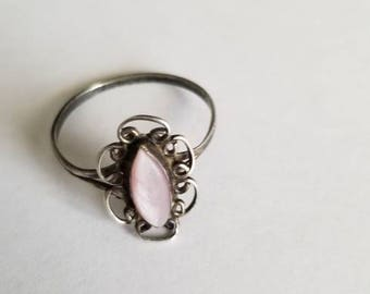 Sterling Silver Ring with a opal accented opal stone. [Size 3]