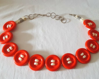 Vintage Red Button Belt, '80s Accesory, Big Red Buttons, Rope, Chain