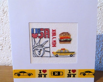 Hand embroidered card: I love New York