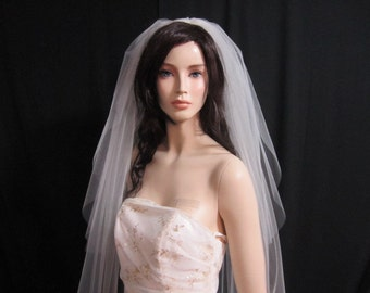 2 tier classic cathedral veil, bridal veil, wedding veil with blusher, 120 inches long, raw cut, round bottom, plain, sheer, simple elegant