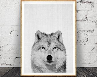 Wolf Print, Woodlands Nursery Wall Art, Black White Grey Decor, Kids Room Poster, Forest Animal, Printable Instant Digital Download