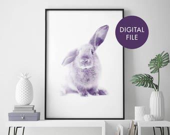 Bunny Rabbit Watercolour Print Wall Art | Print At Home | Digital Download File