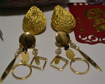 Gold Set| Clip On and Pierced| Tear Drop and Chandelier Earrings| NOS