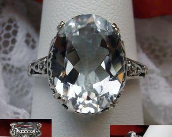 Natural White Topaz Gemstone Solid Sterling Silver Floral/Deco/Edwardian Design Motif Filigree Ring Size: {Made To Order}