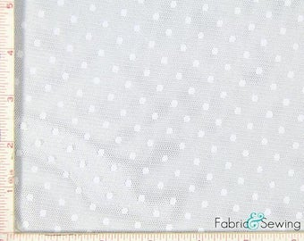 "White Point D'Esprit Mesh with Dot Fabric 2 Way Stretch Nylon 52-53"" 150478"
