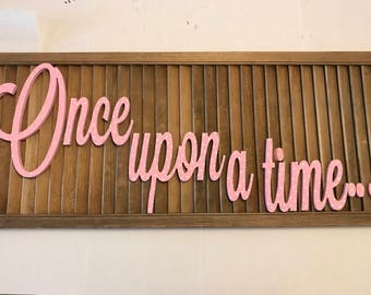 "Handpainted Pink with white and grey polka dots wood ""Once Upon a Time"" for a Girls Nursery or room"