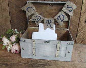Shabby chic wedding card box, burlap wedding decor, card chest, card trunk, wood chest, wedding card holder, card box, wedding trunk, custom
