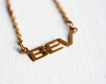 Bev Name Necklace, Bev Necklace, Vintage Name Necklace, Name Plate Necklace, Gold Name Necklace, Gold Monogram Necklace