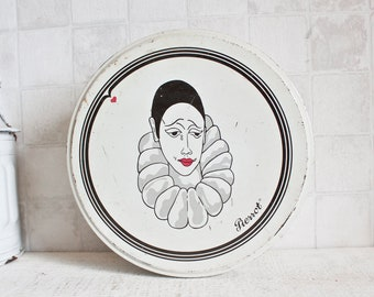 Lovely Vintage French PIERROT Round Box || French Pierrot Illustration Decorative Tin - Retro Iron Canister