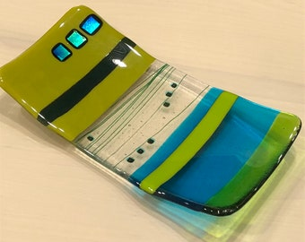 Fused glass dish in green and turquoise colors