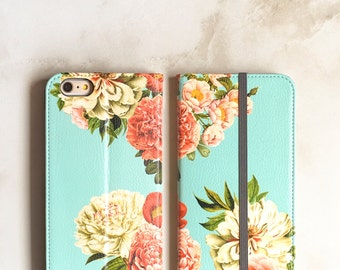 One iPhone Wallet Case Peony Bunch on Blue, iPhone X / 6S / 7 / 8 Plus Floral Womens Wallet Flip Case