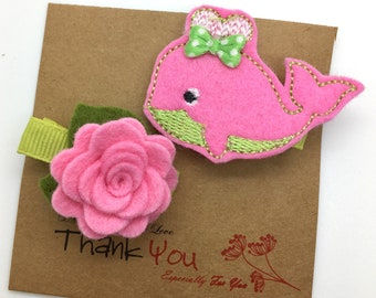 Whale Hair Clip Easter Hair Clip Set Felt Flower Hair Clips Toddler Hair Clips Girls Accessories