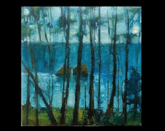 Original Oil Painting, Small Oil Painting, Small Landscape Painting, Landscape Oil Painting, Trees, Coastal, Ocean, Beach
