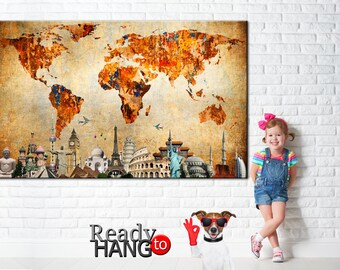 Vintage world map, Rustic World map, World Map on canvas, Old world map, Ancient map, World map canvas, Wall decor maps, World traveler map