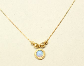Gold opal Necklace, 18k Gold Plated, Beautiful Jewelry,wedding necklace,Gift for her,love necklace